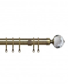 Curtain Pole Pristine Crystal Antique Brass